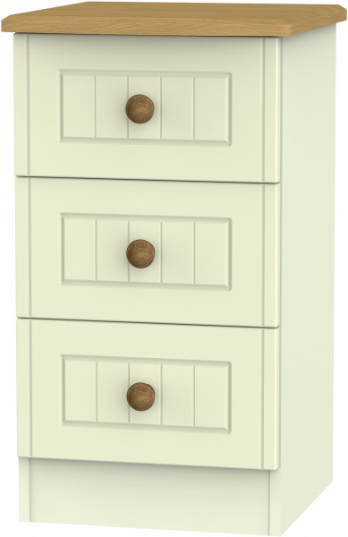 Avalon Cream & Oak 3 Drawer Bedside