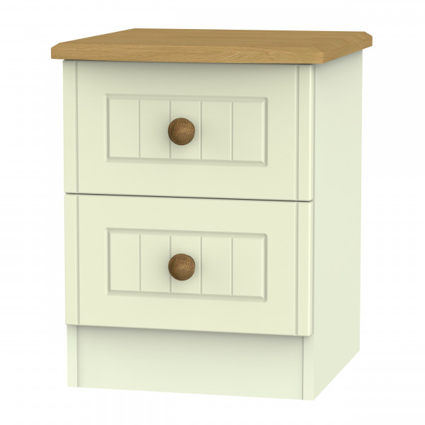 Avalon Cream & Oak 2 Drawer Bedside