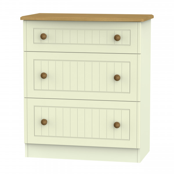 Avalon Cream & Oak  3 Drawer Deep Chest