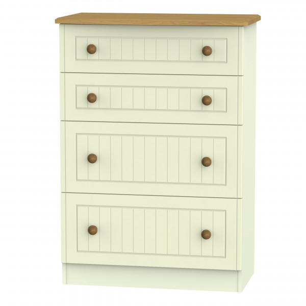 Avalon Cream & Oak  4 Drawer Deep Chest