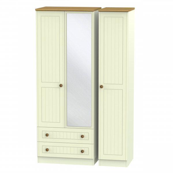 Avalon Cream & Oak  Drawer Mirrored Wardrobe
