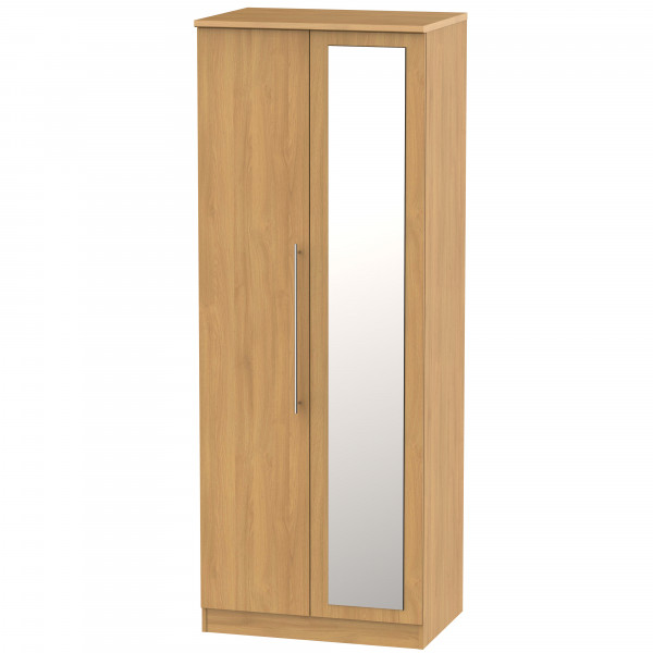Style Oak 2 Door Mirrored Wardrobe