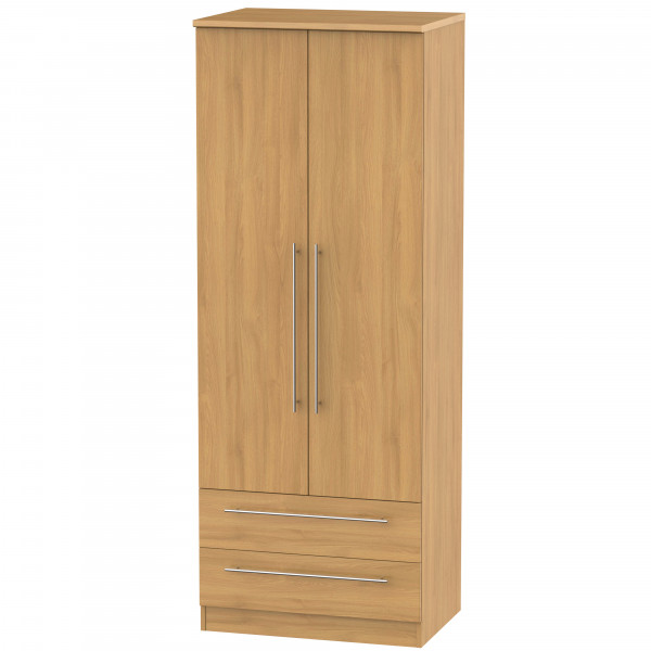 Style Oak 2 Door 2 Drawer Wardrobe