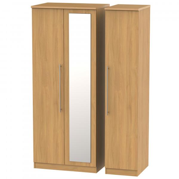 Style Oak Triple Mirrored Wardrobe