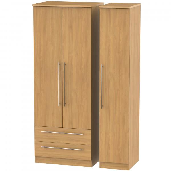 Style Oak Triple 2 Drawer Wardrobe