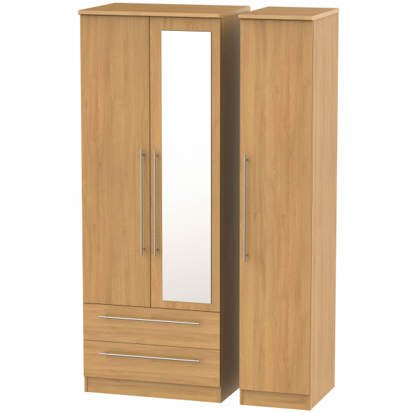 Style Oak Triple 2 Drawer Mirrored Wardrobe