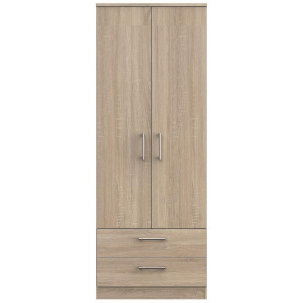 London Light Oak Double Wardrobe with Drawers