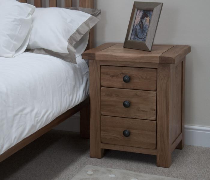 Rustic Oak 3 Drawer Bedside
