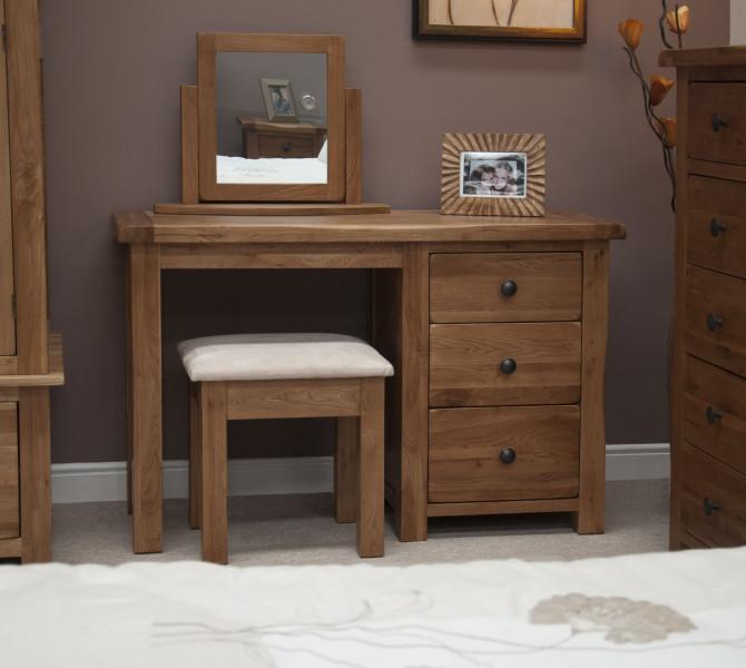 Rustic Oak Dressing Table & Stool