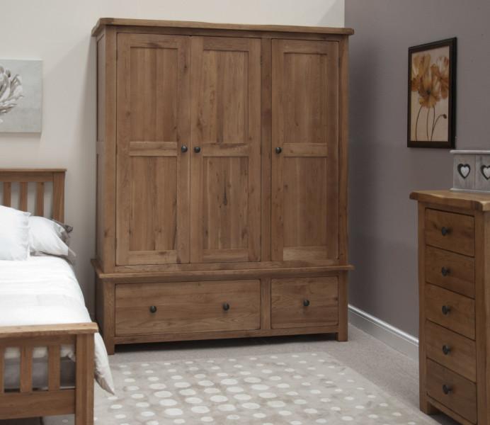 Rustic Oak Triple Wardrobe