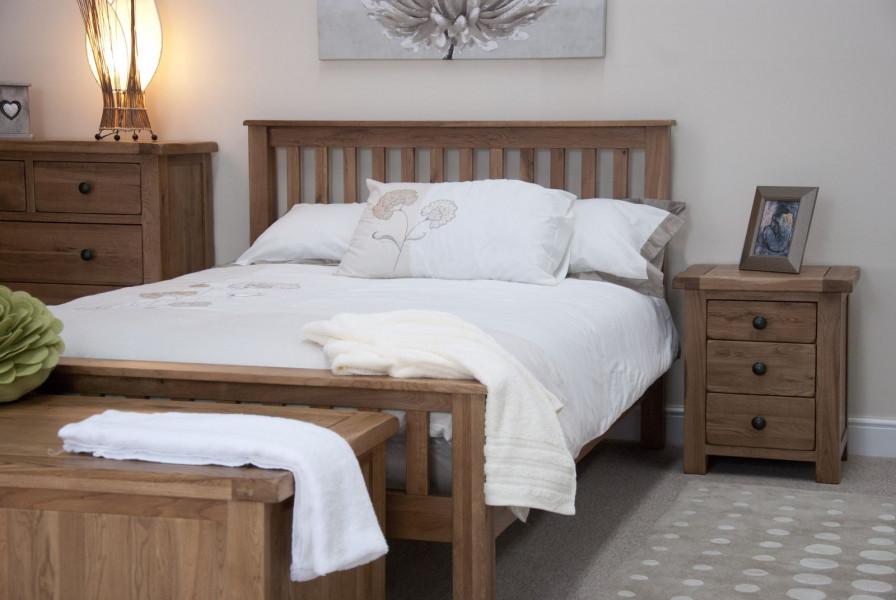 Rustic Oak 4'6''  Bed Frame