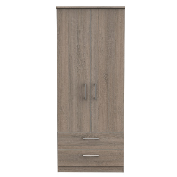 London Dark Oak Double Wardrobe with Drawers