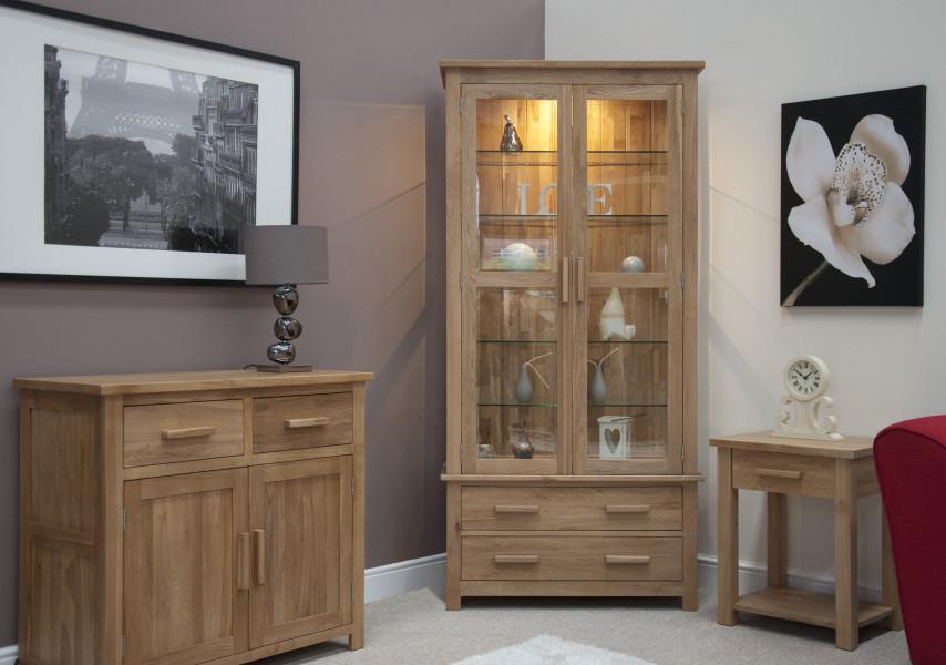 Inspire Oak Glass Display Cabinet