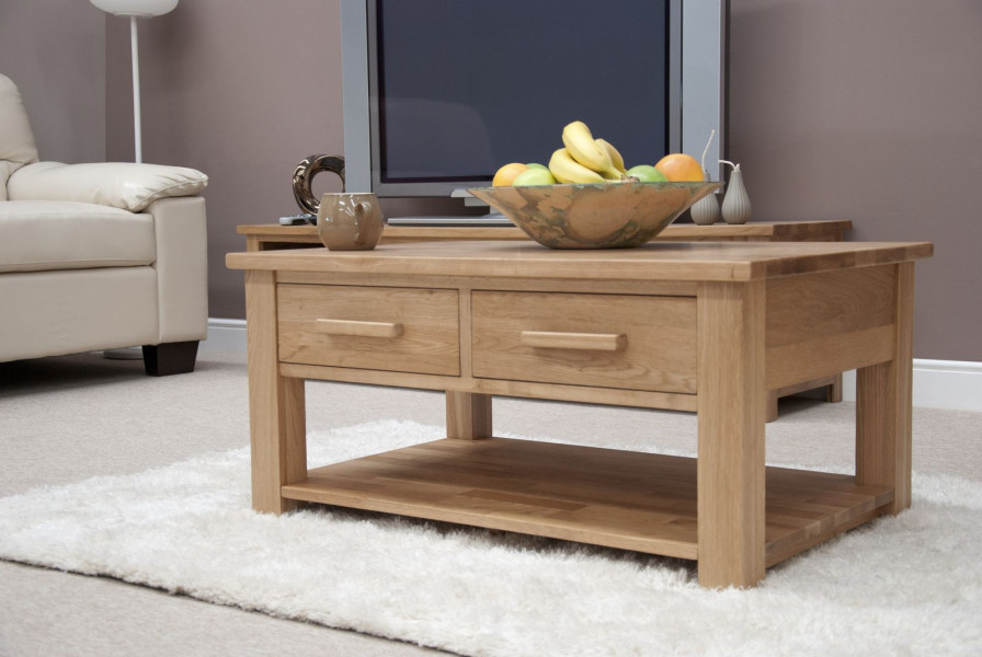 Inspire Oak 3x2 Coffee Table with Drawers