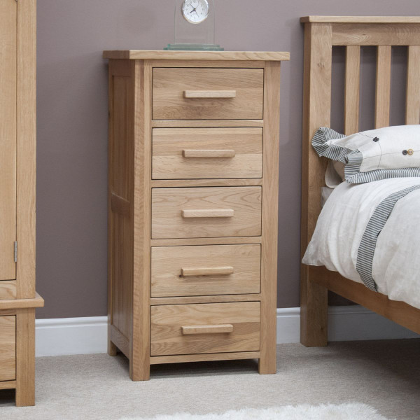 Inspire Oak 5 Drawer Narrow Chest