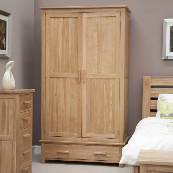 Inspire Oak 2 Door 1 Drawer Wardrobe