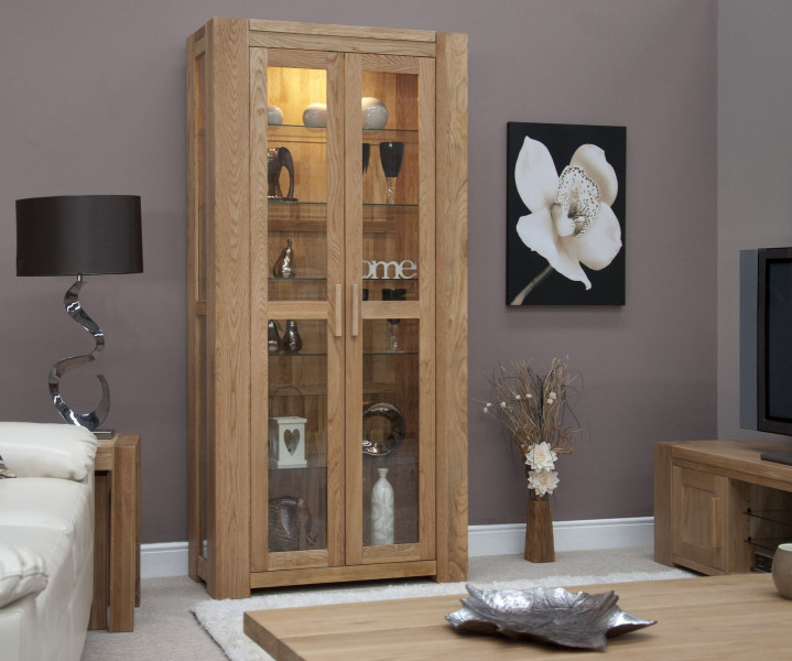 Chunky Oak Glass Display Unit