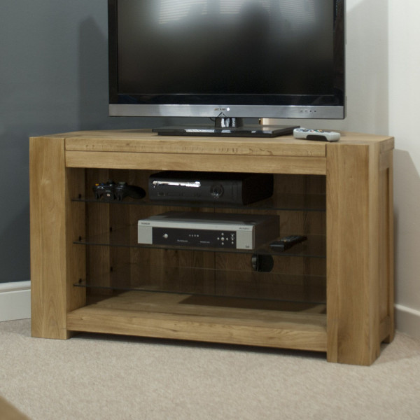 Chunky Oak Corner TV Unit