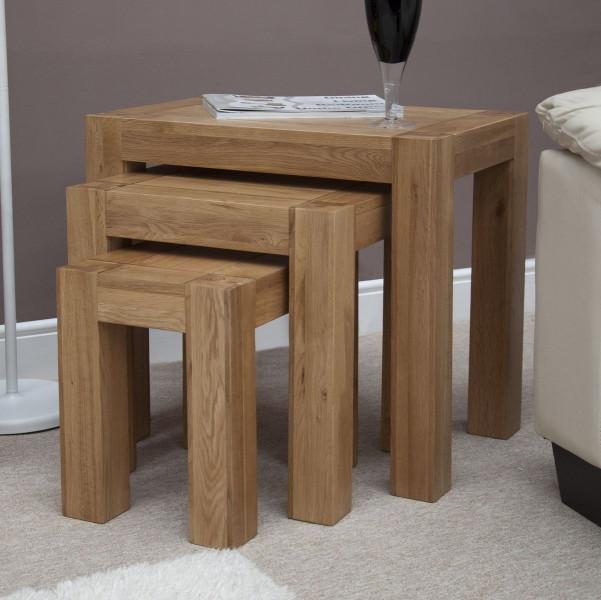 Chunky Oak Nest of Tables