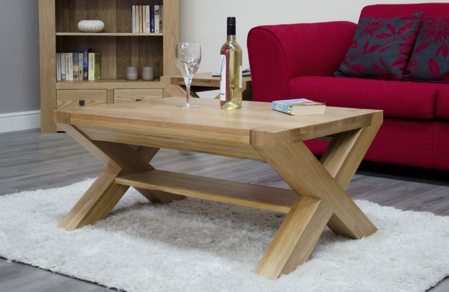 Chunky Oak 3x2 X Leg Coffee Table