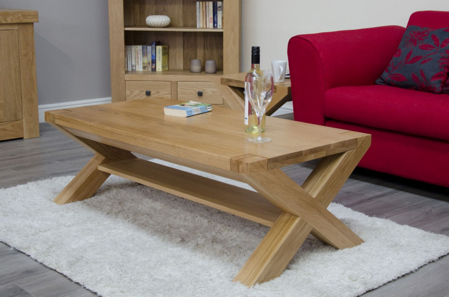 Chunky Oak 4x2 X Leg Coffee Table