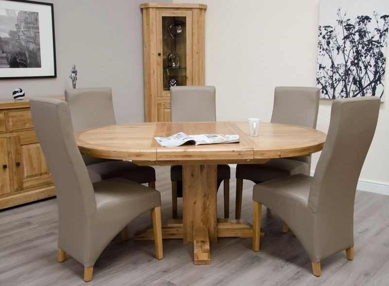 Deluxe Rustic Oval Extending Dining Table