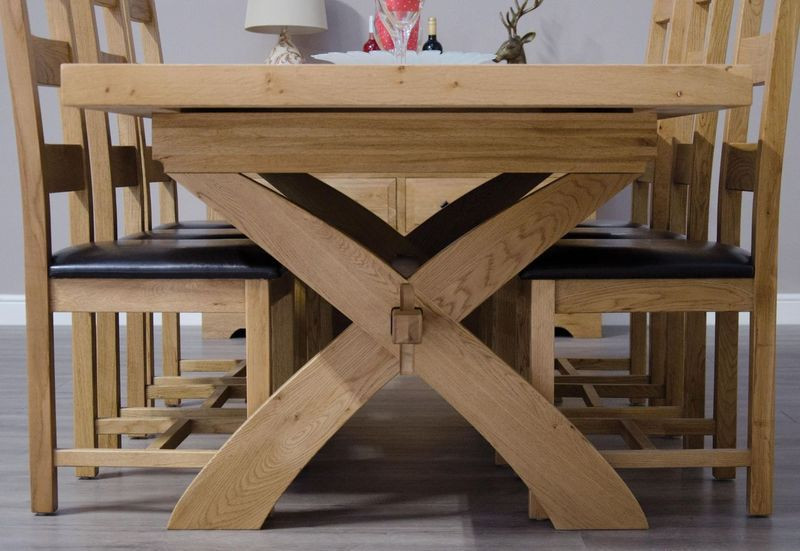 Deluxe Rustic X-Leg Extending Dining Table