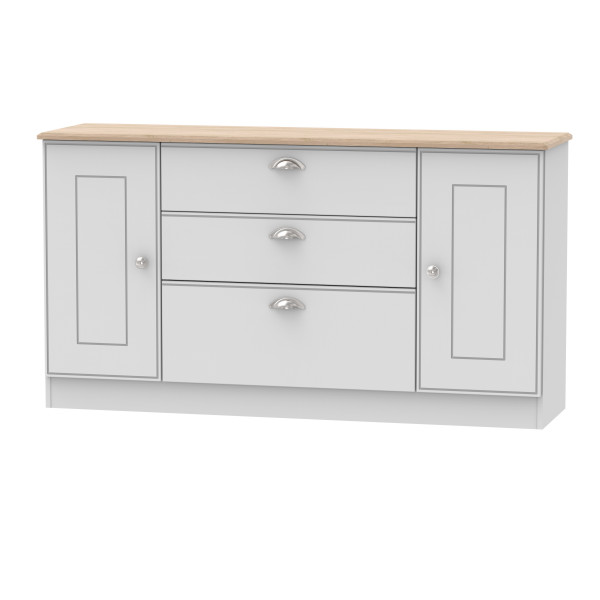Kensington Grey & Oak 2 Door 3 Drawer Wide Unit